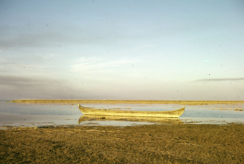 General view of a boat near the marshlands of Southern Iraq