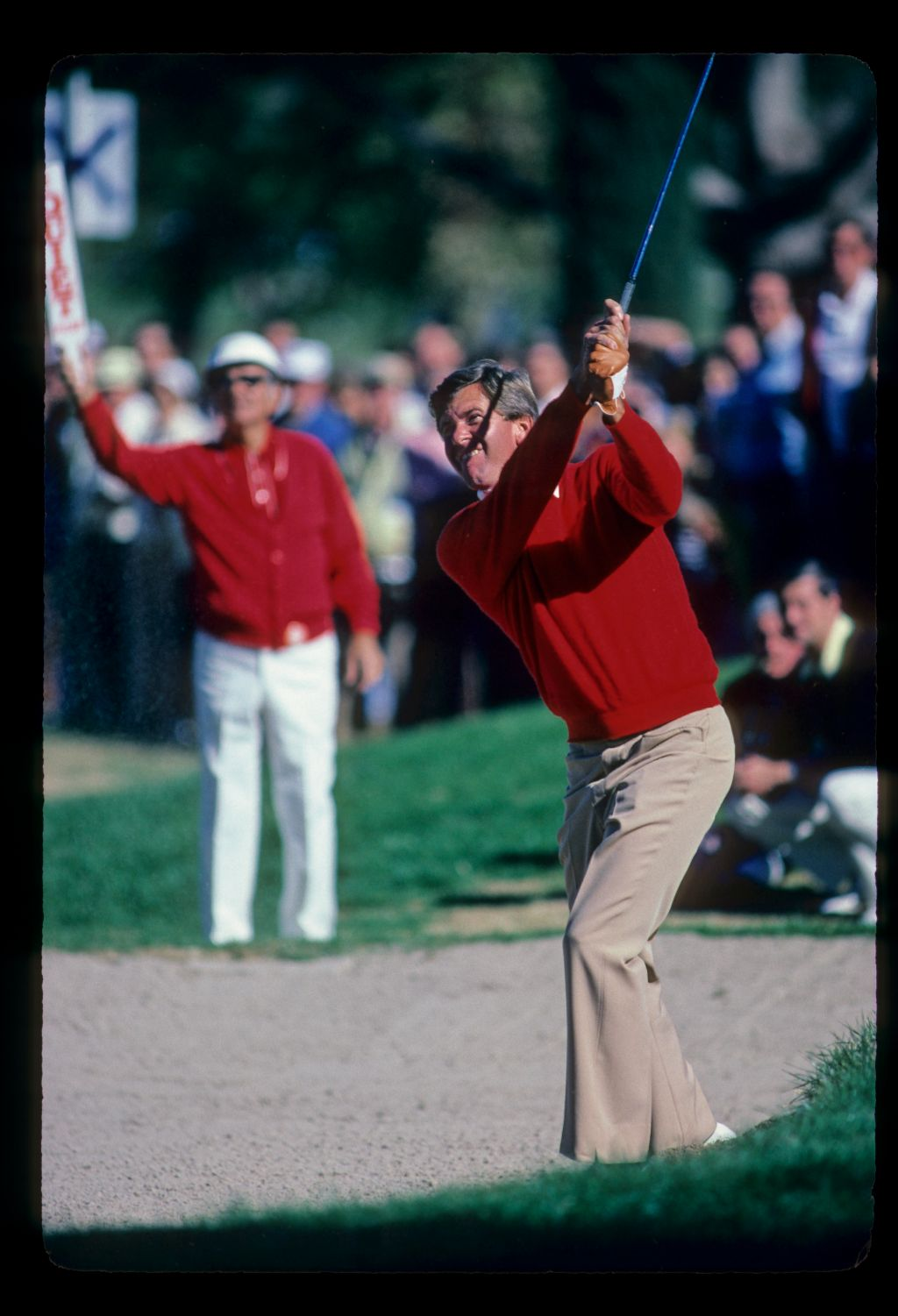 Ed Sneed playing from a bunker during the 1982 Phoenix Open