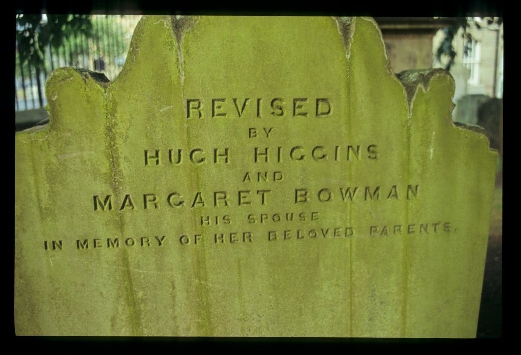 A 'revised' [re-used] gravestone, Howff, Dundee.