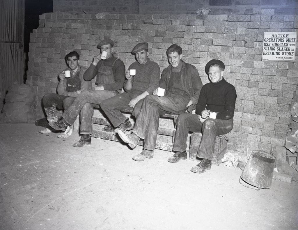 Lewis Island workers having a tea break at British Sugar Corporation Beet factory, Cupar