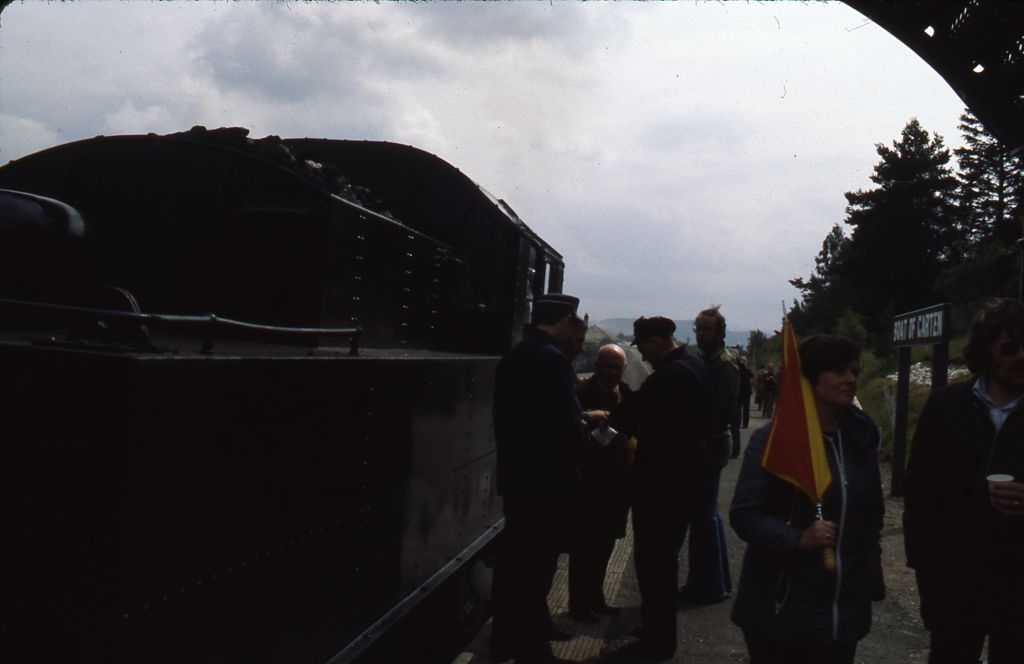 Ian (Fraser?) and ex- B.R. locomotive no. 46464 at Boat of Garten
