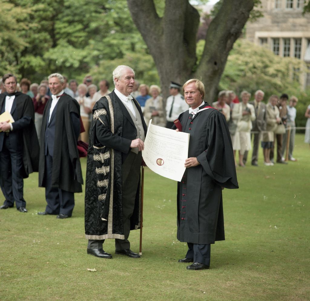 After graduation - Jack Nicklaus and the Principal with his degree unfurled, University of St Andrews.