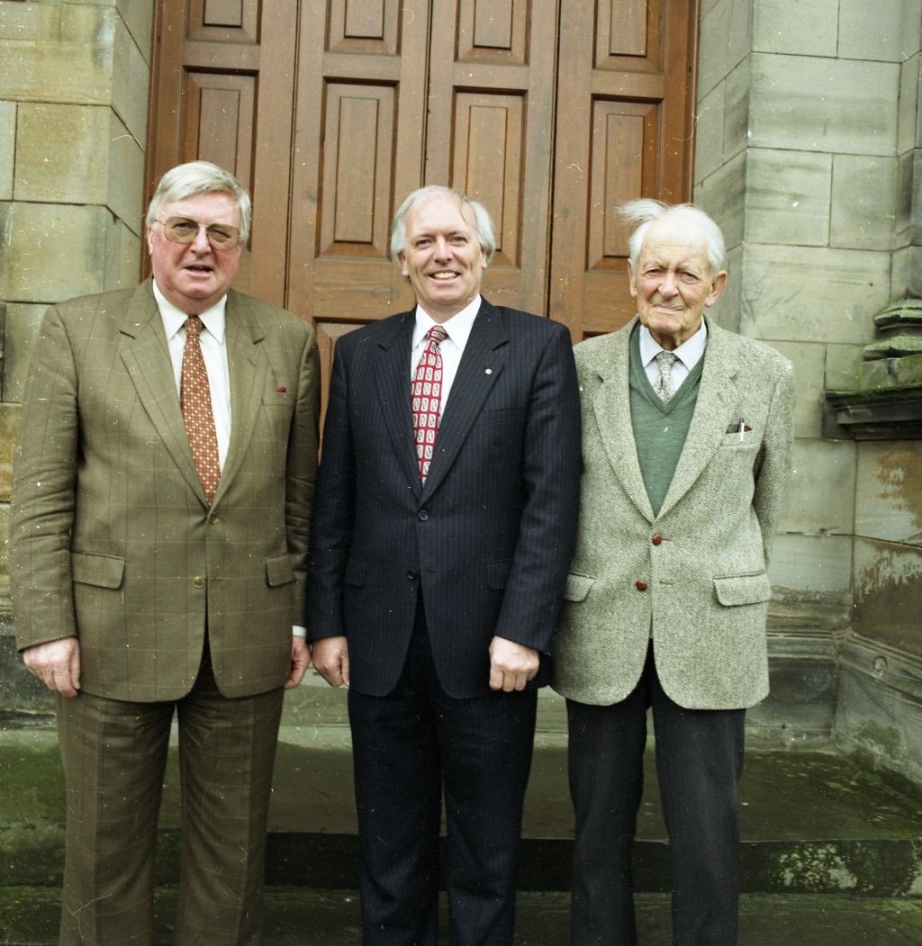 Principal Struther Arnott, with Professor Sibbett & Professor Jack Allen, on their election as Fellows of the Royal Society, University of St Andrews.