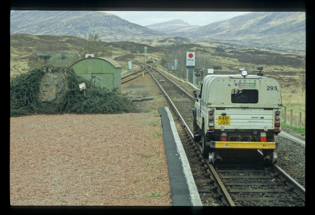 Land Rover on the rails - Rannoch Station.