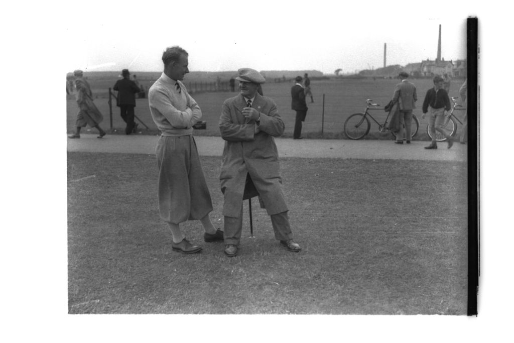 Sandy Herd and golfer on the Old Course, St Andrews.
