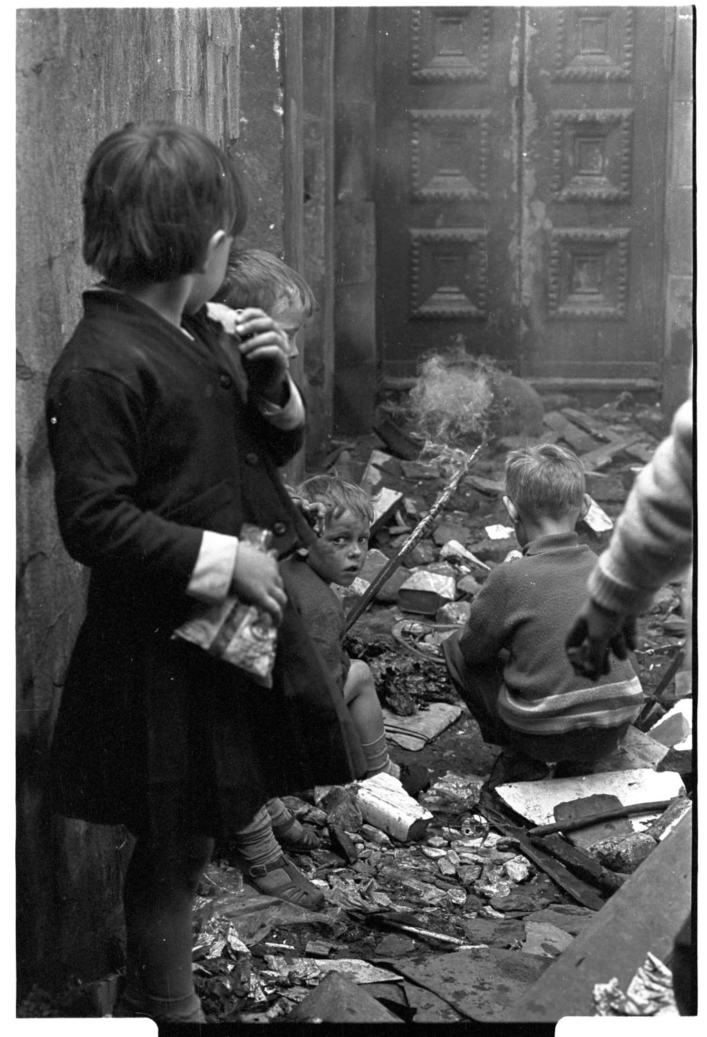 [Children Playing With Fire in Derelict Building]