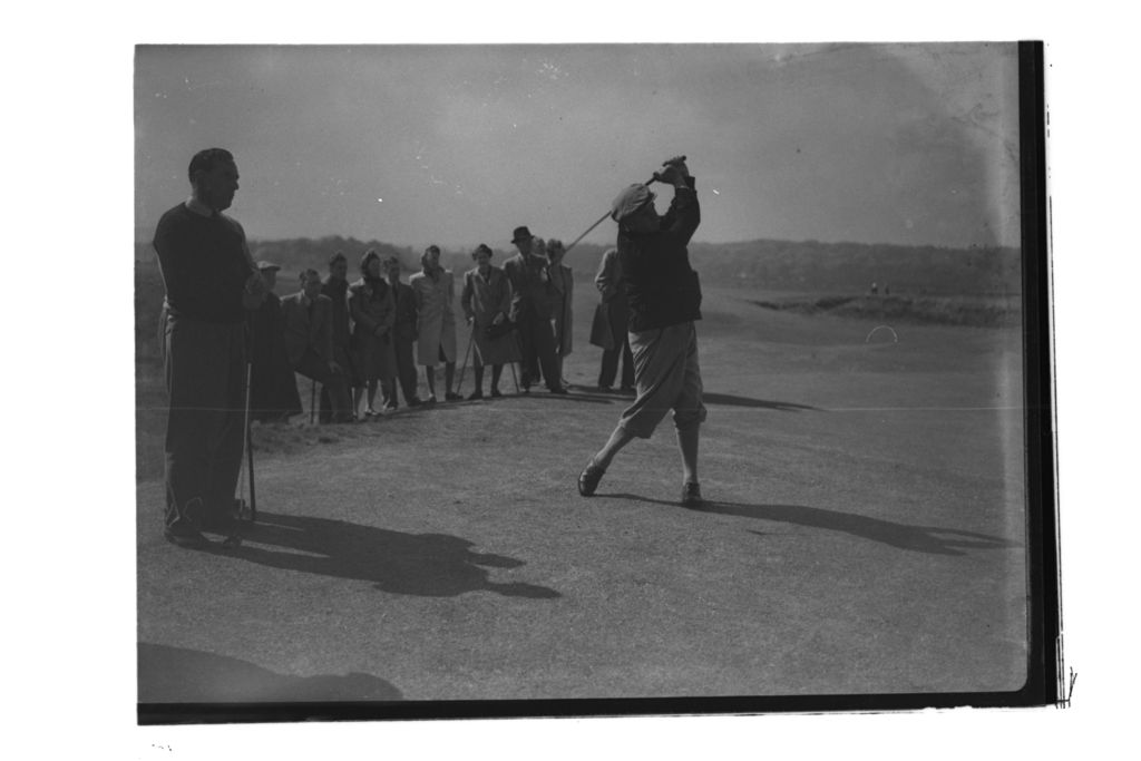 R Whitcombe teeing off on the Old Course, St Andrews.