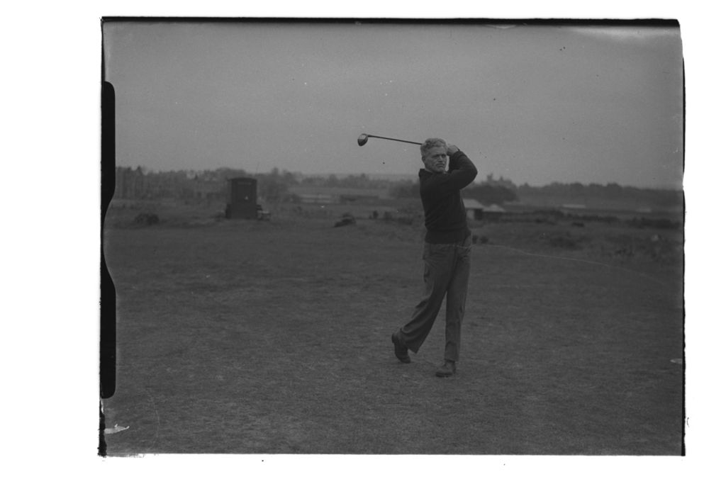 J K Wilson driving on the Old Course, St Andrews.