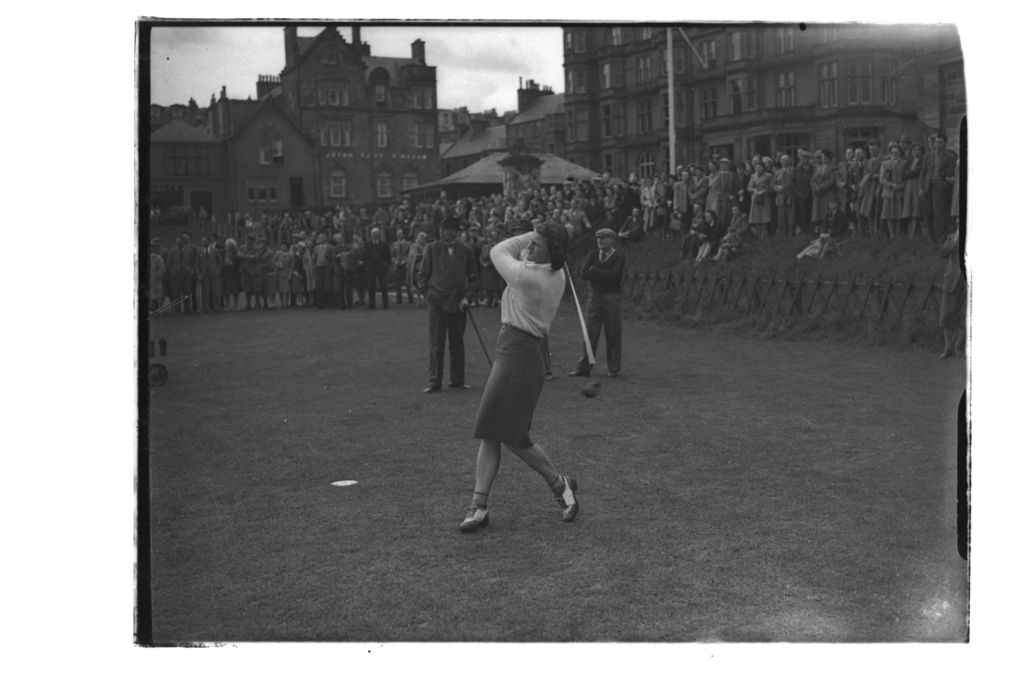Babe Zaharias tees off at the 1st Tee on the Old Course, St Andrews.