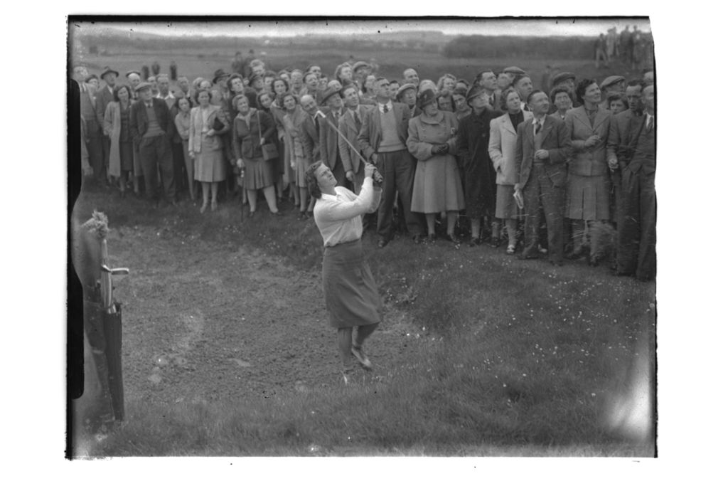 Babe Zaharias plays out of a bunker on the Old Course, St Andrews.