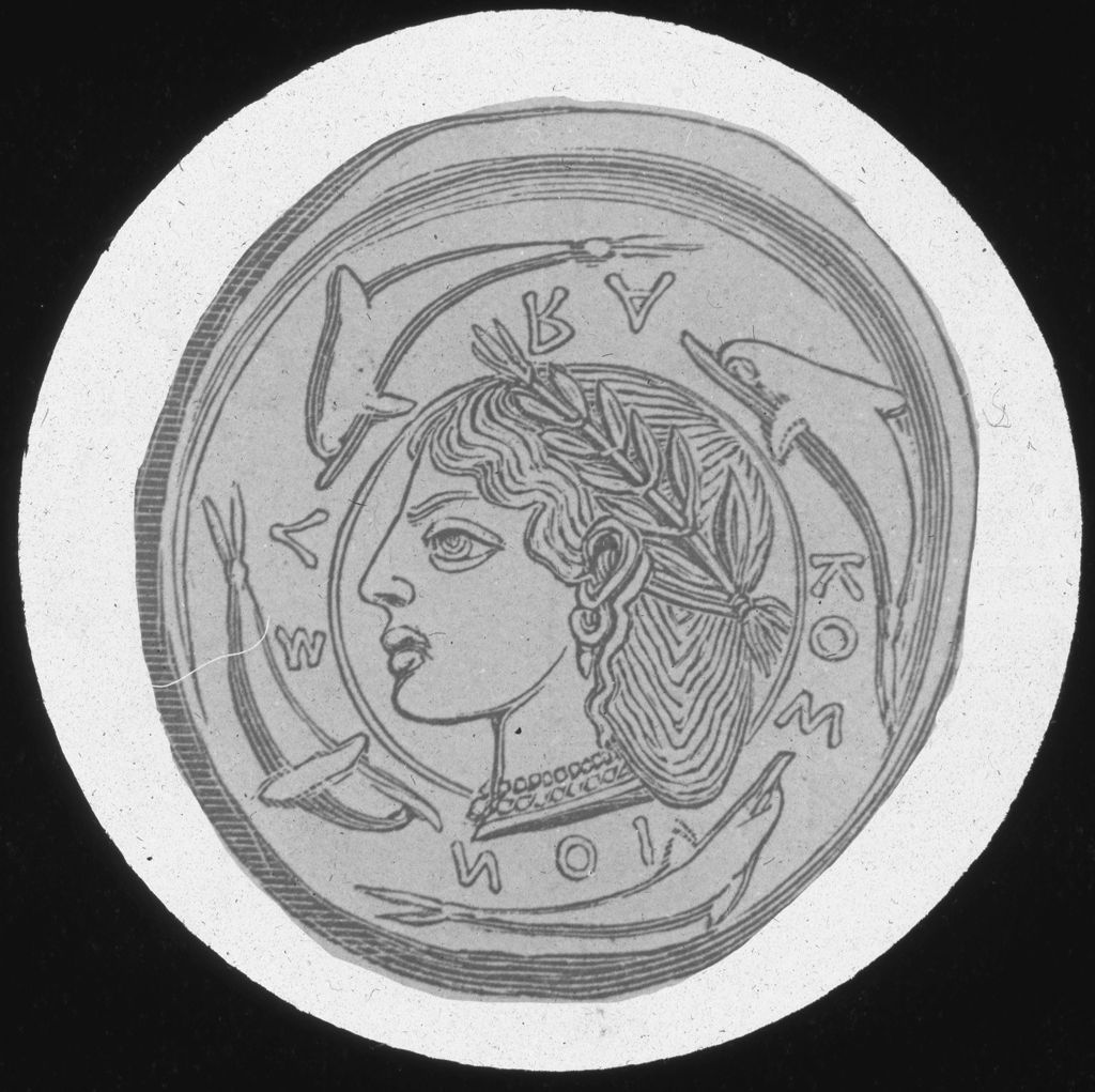 [Coin depicting a human figure crowned in olive]