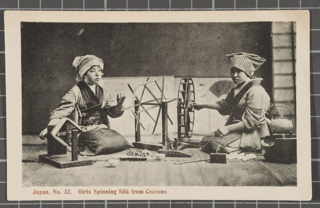Girls Spinning Silk from Cocoons