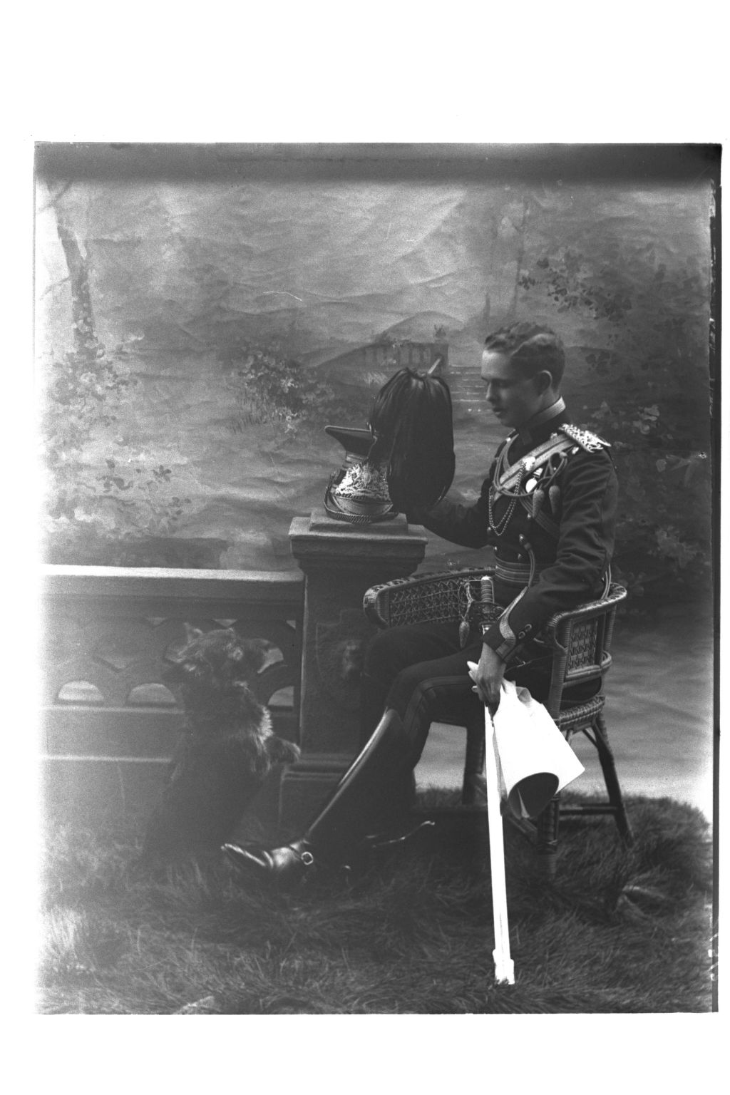 Mr Harry Gilmour, in full dress uniform of the 16th Lancers, [with Sheila, ?Montrave].
