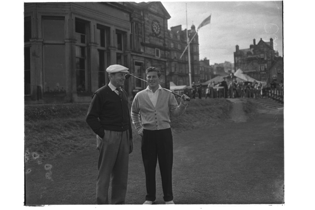 Peter Thomson Henry Cotton, on the 1st Tee, the Old Course. St Andrews, the Open.