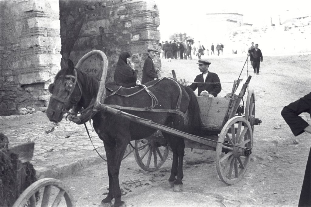 Horse and cart at the street market, Istanbul.