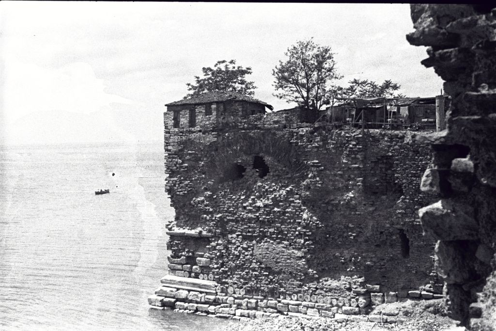 House on the harbour wall of the Palace of Justinian, Sultanahmet, Istanbul (Constantinople).