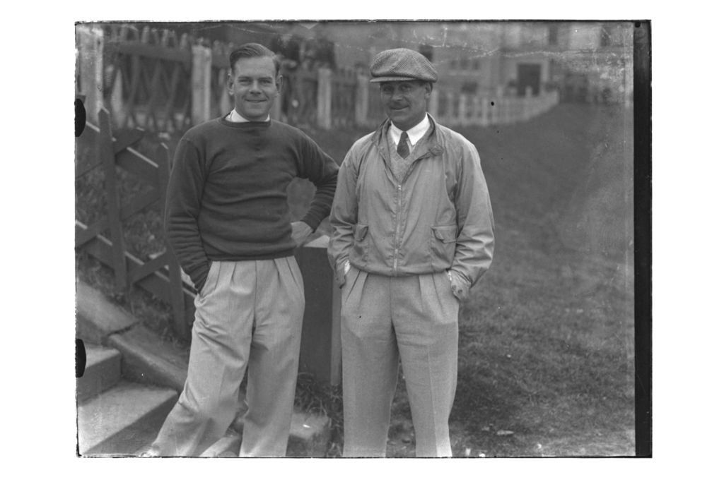 Hector Thomson and Andrew Dowie (St Andrews) by the steps of the Old Course, St Andrews, The British Amateur Championship, 1936.