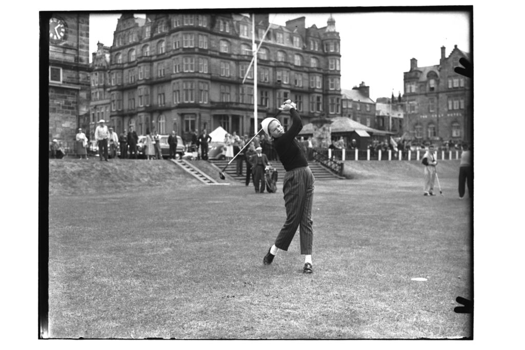 Mrs Frank Stranahan (USA) tess off at the 1st Tee, the Old Course, the Open Championship, St Andrews.