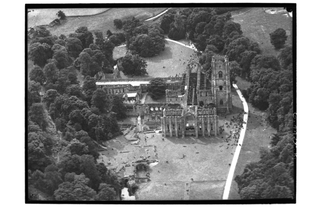 Fountains Abbey from the air.