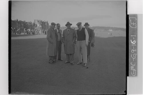 Lord Brabazon (with club) with Willie Auchterlonie, Francis Ouimet and two past captains of the R&A, before he plays in as the new captain of the R&A, the Old Course, St Andrews