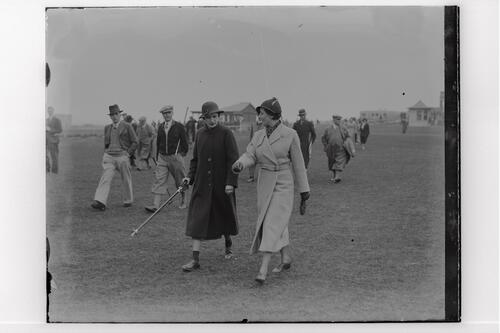 The Walker Cup Match 1934, spectaters walking on the Old Course, St Andrews.