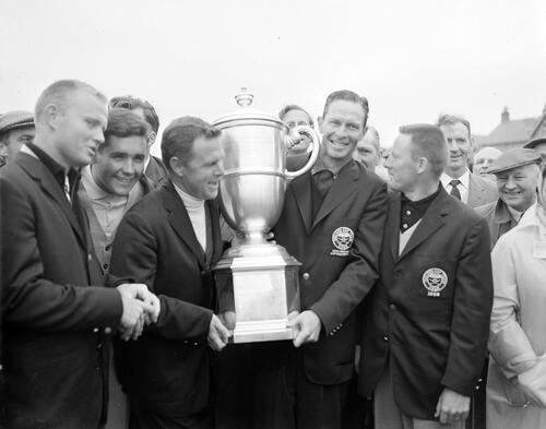 The Walker Cup Match, 1947. Francis Ouimet, Captain of the American team receives the Walker Cup from Roger Wethered, Captain of the R&A, St Andrews.