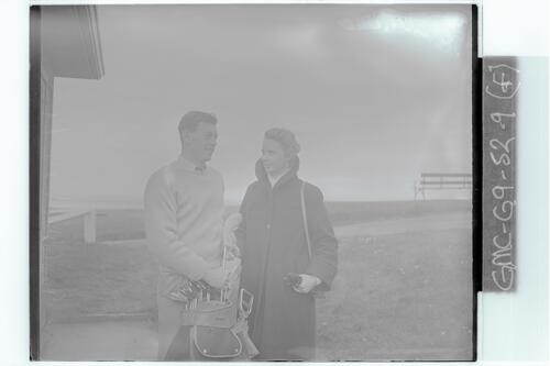 The Walker Cup Match, 1955. Ian Caldwell (GB) and Mrs Caldwell, the Old Course, St Andrews.