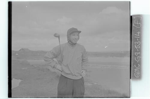 The Walker Cup Match, 1955. Dale Morey (USA), the Old Course, St Andrews.