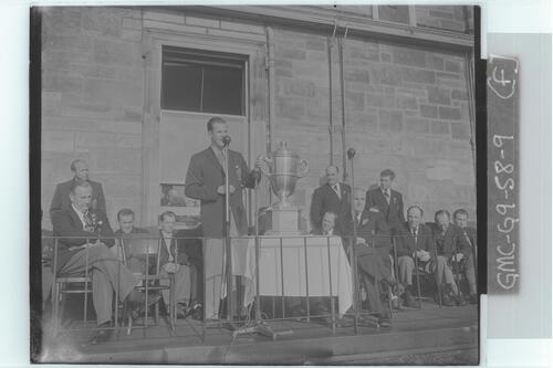 The Walker Cup Match, 1955. William C Campbell, Captain of the winning USA team makes his victory speech after receiving the trophy, St Andrews.