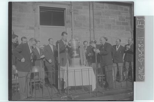 The Walker Cup Match, 1955. William C Campbell, Captain of the winning American (USA) team with the trophy after the presentation, St Andrews.
