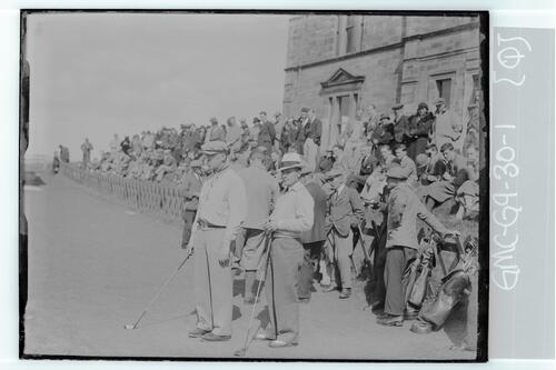 The Walker Cup Match 1934. Francis Ouimet (USA) and Johnny Goodman (USA) on the 1st Tee of the Old Course, St Andrews.
