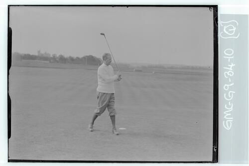 The Walker Cup Match 1934. Max Marston tees off on the Old Course, St Andrews.