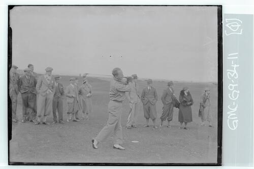 The Walker Cup Match 1934. Goerge Dunlop tees off on the Old Course, St Andrews.
