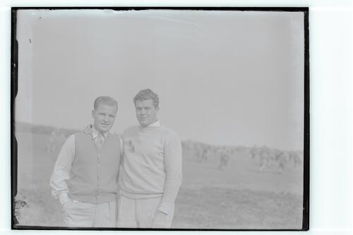 The Walker Cup Match 1934. A pair of golfers, the Old Course, St Andrews.