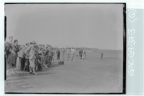 The Walker Cup Match 1934. Francis Ouimet tees off on the Old Course, St Andrews.