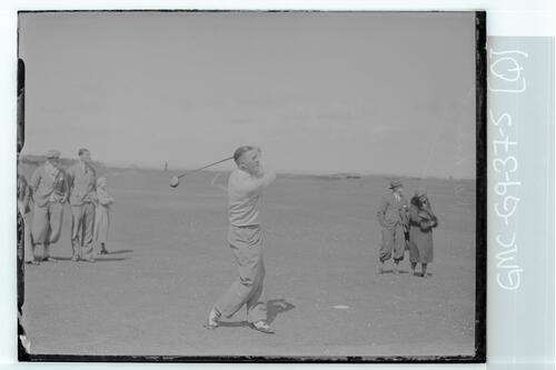 The Walker Cup Match 1934. Sam McKinley tees off on the Old Course, St Andrews.