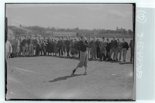 The Walker Cup Match 1934. Eric Fiddian tees off on the Old Course, St Andrews.