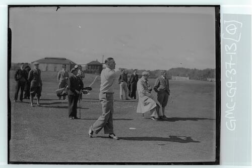 The Walker Cup Match 1934. A golfer tees off on the Old Course, St Andrews.