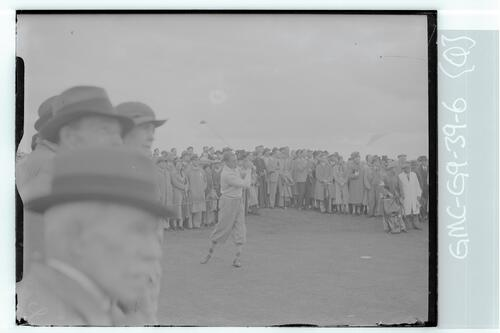 The Walker Cup Match 1938. A golfer tees off on the Old Course, St Andrews.