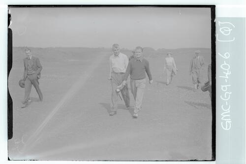 The Walker Cup Match 1938. Golfers walk down the Old Course, St Andrews.