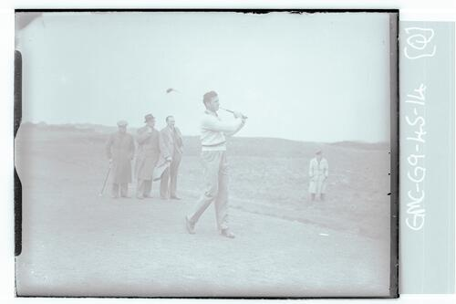 The Walker Cup Match 1947. A golfer tees off on the Old Course, St Andrews.