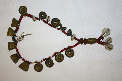 Metal, shell and bead necklace