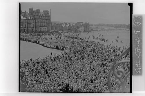 The crowds watching the presentation of the Open trophy, the Open Championship, St Andrews.