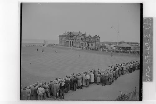 The 18th hole of the the Old Course and the Royal and Ancient Golf Clubhouse, the Centenary Open Championship, St Andrews.