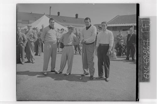Harvie Ward (USA), Frank Stranahan (USA) and two golfers pose for their photograph at the 1st Tee at the British Amateur Golf Championship, Prestwick.