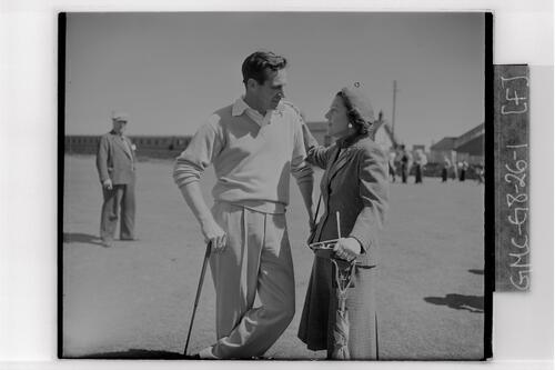 Harvie Ward (USA) and wife, British Amateur Golf Championship, Prestwick.