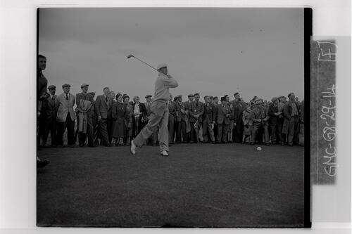 J B Carr (Sutton, Dublin) tees off during the practice rounds of the British Amateur Golf Championship, Muirfield.