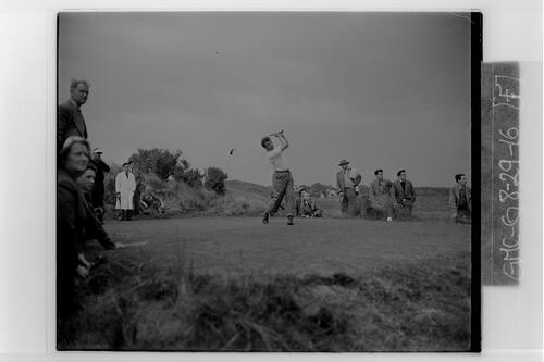 A golfer tees off during the practice rounds of the British Amateur Golf Championship, Muirfield.