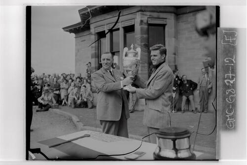 The winner Harvie Ward (USA) being presented with the Amateur trophy, the Final of the British Amateur Golf Championship, Prestwick.
