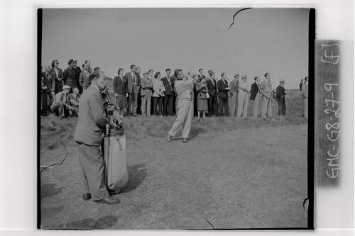 Golfer (Harvie Ward) tees off, the Final of the British Amateur Golf Championship, Prestwick.